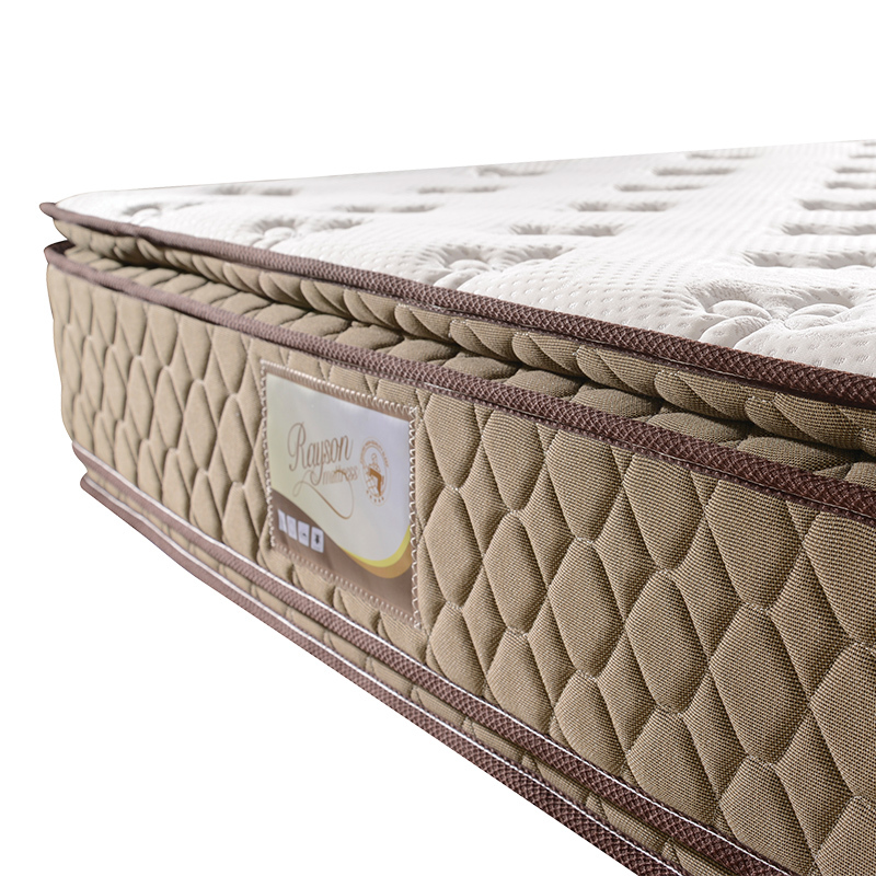 Double side pillow top 32cm 5 star hotel luxury spring mattress