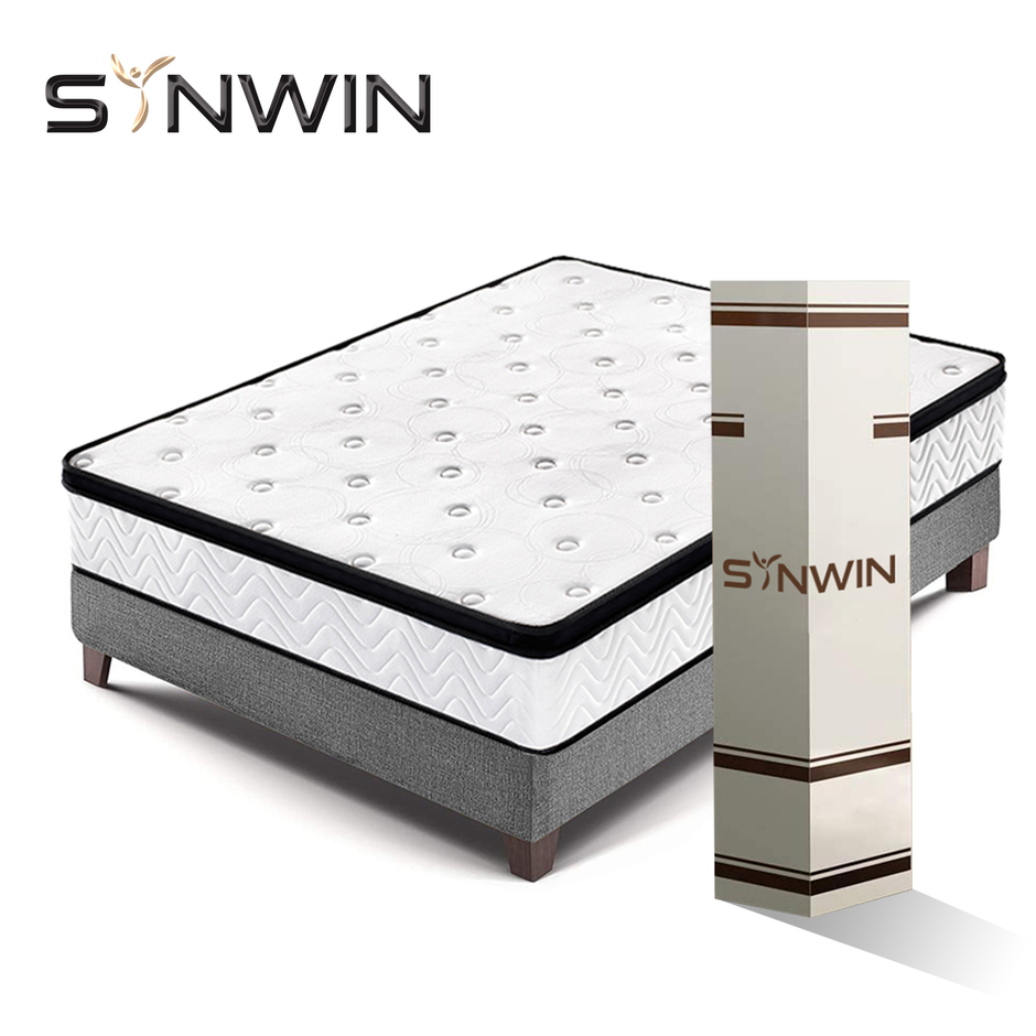 Chile Synwin China Factory direct Luxury 25cm hard coil colchon pocket spring mattress